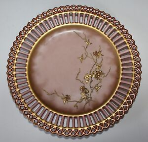 Lovely Antique Reticulated Gilt Decorated Porcelain Plate Japonism Style 1880