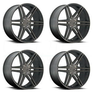 24x10 Dub Skillz S123 6x135 30 Black Machined Wheels Rims Set 4