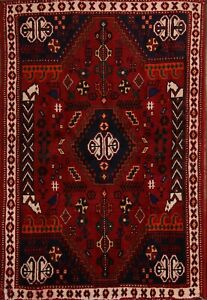 Special Price Geometric Tribal Shiiraz Persian Oriental Red Area Rug Wool 4x5
