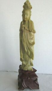 Vintage Carved Soapstone Statue Of Quan Yin Guanyin Figurine 13 75 Tall