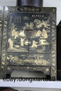 31 Chinese Wood Painted Lucky Children Boy Armoire Wooden Cupboard Crate Chests