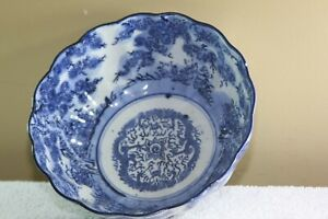 Chinese Blue White Porcelain Scallop Bowl Ca 19 20th C 2 Five Claw Dragons
