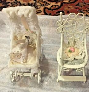 Beautiful Vintage Baby Doll Carriage And Chair White Wicker Lace