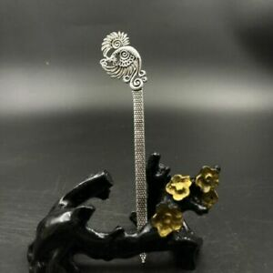 Chinese Antique Tibetan Silver Handcrafted Exquisite Peacock Hairpin A12