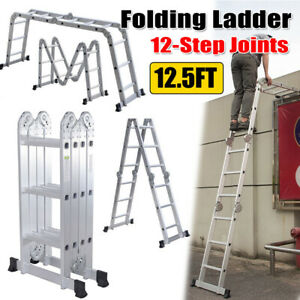 12 5ft Aluminum Multi Purpose Folding Ladder 12 step Joints Extension Scaffold