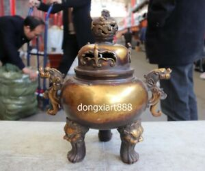 16 Tibet Bronze Lucky Dragon Lion Bat Animal Incense Burners Censer Incensory