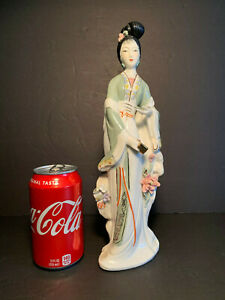 Vintage Republic Period Chinese Handpainted Geisha Flowers Porcelain Figurine