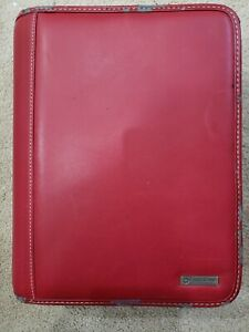 Franklin Covey Red Zipper 7 Ring Binder Classic Size 8 X 10 5 Nice L k Used