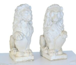 Pair 2 Large Antique Carved Stone Lions 24 Tall