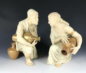 C 1881 Antique Royal Worcester Large Figurines Water Carriers James Hadley