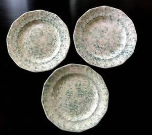 3 Antique Staffordshire Green Spatterware Spongeware Plates Touches Of Red
