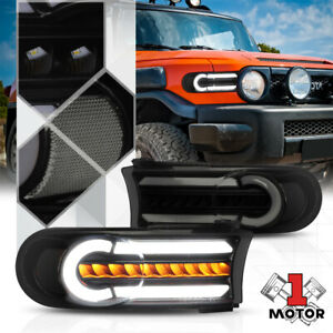 Black smoke clear Led Drl sequential Signal Bumper Light For 07 14 Fj Cruiser