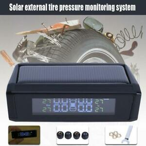 Solar Power Car Auto Lcd Monitor System Tpms Tire Pressure Wireless 4 Sensor
