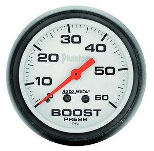 Autometer 5705 Phantom Mechanical Boost Gauge W White Dial Face
