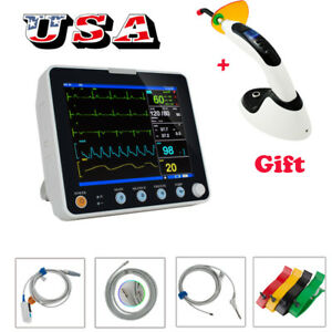 8 Vital Sign Portable Medical Dental Patinet Monitor Ecg Nibp Resp Temp Spo2 Hr