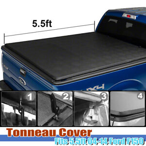 For 04 14 Ford F 150 5 5ft Fleetside Truck Bed Soft Tri Fold Tonneau Cover