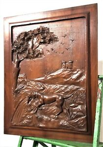 Dog Hunting Scene Panel Vintage French Hand Carved Wood Architectural Salvage
