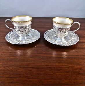 2 Rare S Kirk Son Hand Decorated Sterling Silver Repousse Demitasse Cup Set