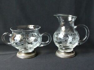 Sterling Silver Cut Glass Etching Cream Pitcher And Sugar Serving Bowl Set