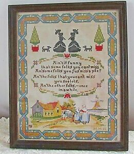 Antique 1917 Sampler Needlepoint Victorian Ladies Tree Dogs Ain T It Funny