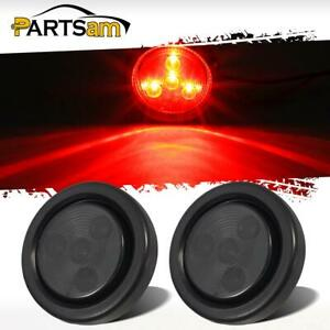 2x 2 Inch Round Red Side Marker Clearance 4 Led Smoke Lens Trailer Truck Lights