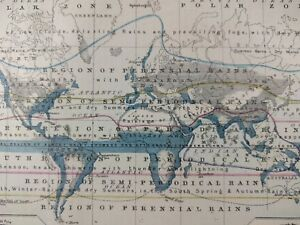 Vintage 1874 Dated Map Distribution Of Rain Old Antique World Rainfall Mapz