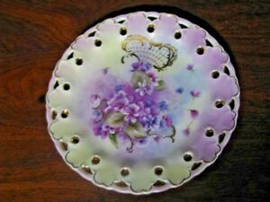 Cabinet Plate With Violets Lace Reticulated Edge And Gold Trim Clearance
