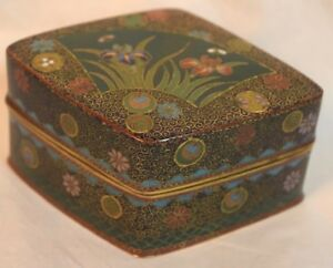 Fine Japanese Cloisonne Box With Irises