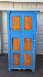 Antique Cupboard Pantry Cabinet Farmhouse Kitchen Jelly Cabinet Blue