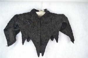 Antique Collar Shawl Large Black Beaded Gabardine Capelet Victorian 1890