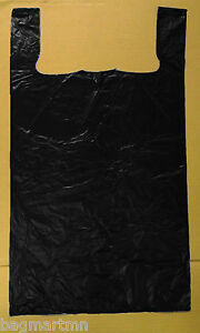 400 18x7x32 Jumbo 32 Large Black Retail High Density Plastic T shirt Bags