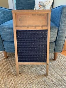 Rare Double Sided National Washboard Wood Blue Enamel No 1870 Rustic Laundry