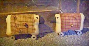 Primitive Country Rustic Grungy Sheep On Spools Handmade Free Ship