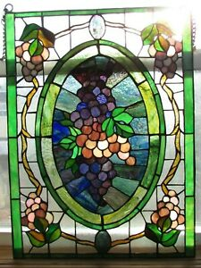 Vintage Antique Stained Glass Panel Tiffany Style Art Glass Grapes