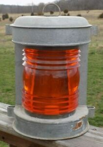 Vintage Perko Marine Lantern Amber Barge Light Nautical Lamp Galvanized