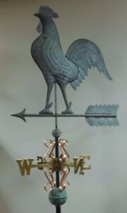 Beautiful Copper Large Rooster Antiqued Weathervane Complete As Shown