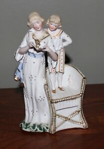 Beautiful Vintage Bisque Porcelain Figurine Of Mother And Son Reading Germany