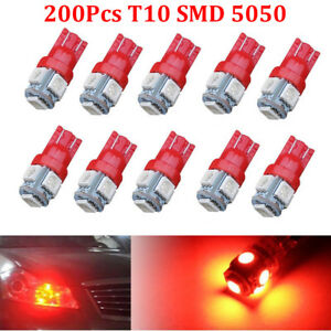 200x Red T10 W5w 5smd 5050 Led Bulb 168 158 192 Car Interior License Turn Light
