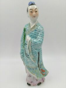 Antique Vintage Chinese Famille Man Figurine Statues Porcelain China