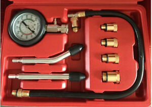 Engine Compression Gauge Tester 5 Adapters For M10 M12 M14 M16 M18 Spark Plugs