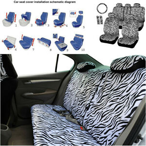 New White Zebra Car Front Back Seat Covers Steering Wheel Cover Shoulder Pad Set