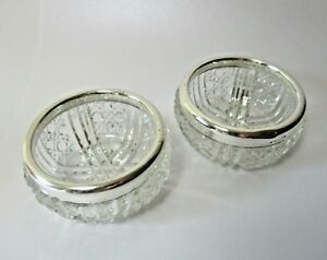 Antique Sterling Silver Cut Glass Salt Cellars Bowls Stamped Sterling On Rim 2