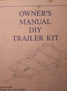 Trailer Diy Utility 4 X 8 Owners Parts Manual Towing Atv Highway Cargo