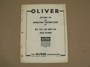 Oliver Setting Up No 122 123 124 Disc Plows Owners operators Manual Vintage