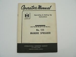 Mccormick 125 Manure Spreader Owners Manual Instructions International 1962