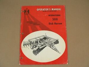 International Harvester Owners Manual Mccormick No 500 Disk Harrow 1969