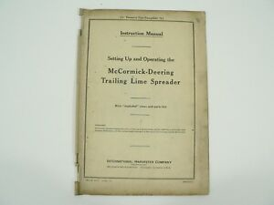 Trailing Lime Spreader Owners Manual Exploded Parts List Mccormick Deering 1940