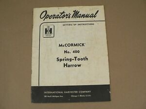 International Harvester Owners Manual Mccormick 400 Spring Tooth Harrow 1957