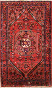 One Of A Kind Vintage Geometric Tribal Hamedan Persian Hand Knotted 4x7 Wool Rug
