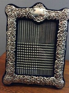 Silver Repousse Picture Frame Blue Velvet 11 X 8 5 For 5 X 7 Photo